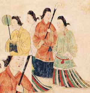 高松塚古墳の壁画 女人像