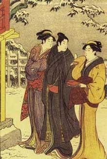 鳥居清長(1752年~1815年)「雪の宮詣り男女」