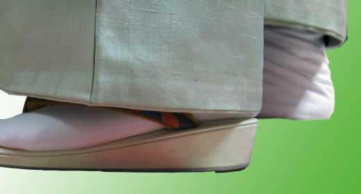 短めに着た裾と礼装の裾位置